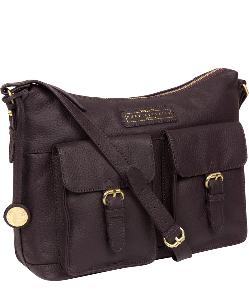 'Frinton' Plum Leather Shoulder Bag image 5