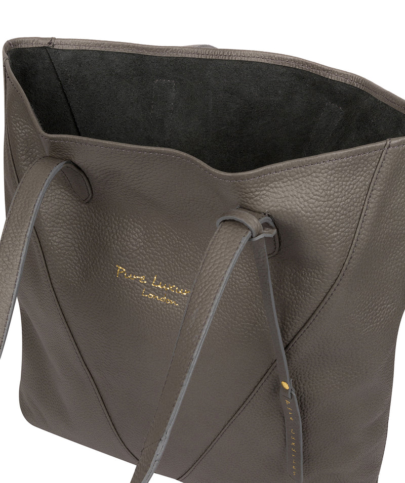 'Claudia' Grey Leather Tote Bag Pure Luxuries London