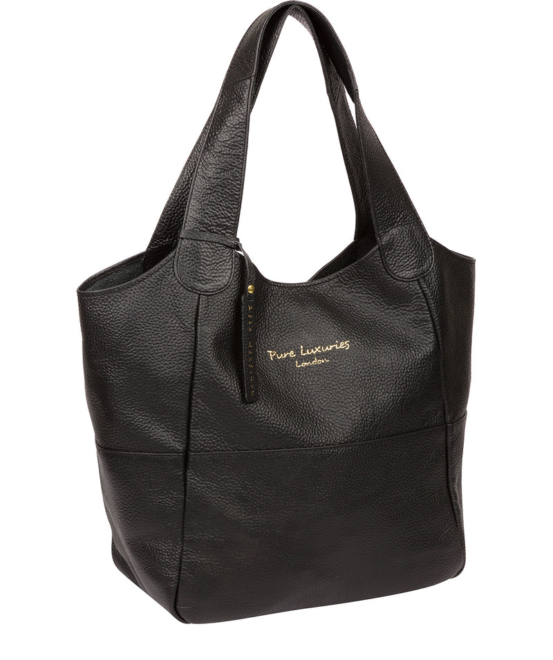 'Freer' Black Leather Tote Bag Pure Luxuries London