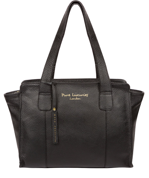 'Alexandra' Black Leather Handbag Pure Luxuries London