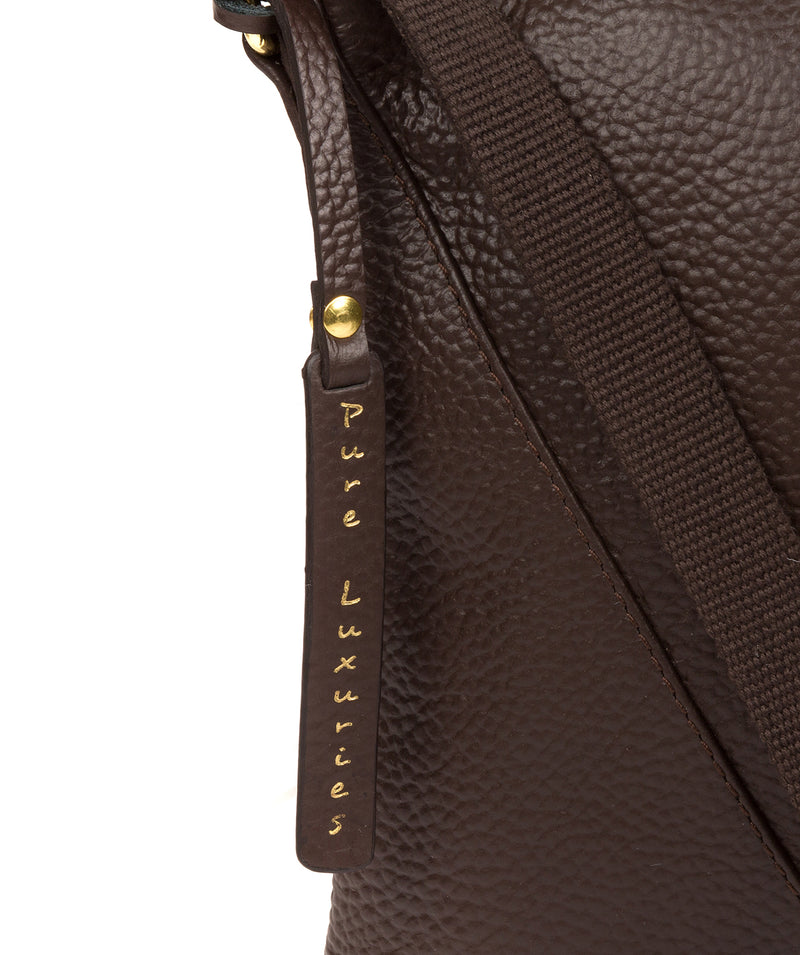 'Lupita' Chocolate Leather Cross Body Bag image 6