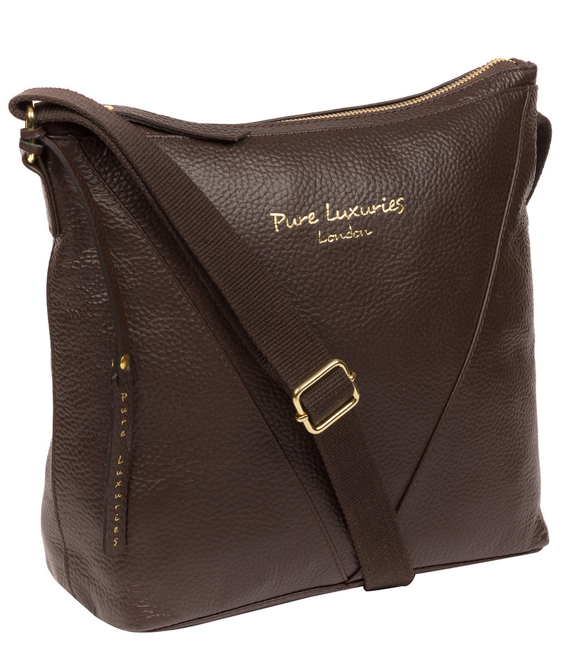 'Rena' Chocolate Leather Cross Body Bag image 5