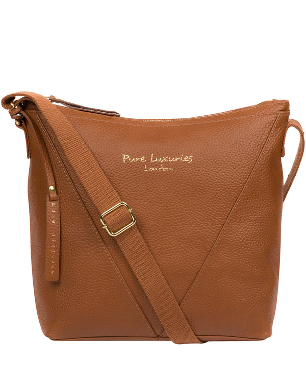 'Rena' Tan Leather Cross Body Bag image 1