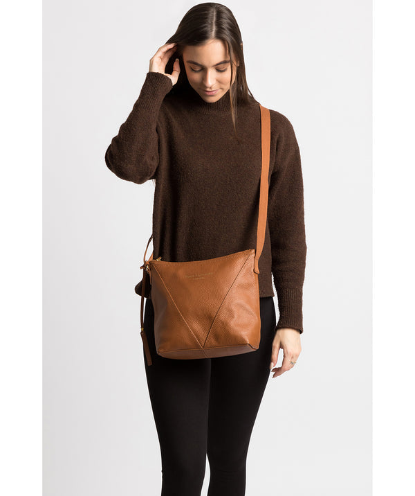 'Rena' Tan Leather Cross Body Bag image 2