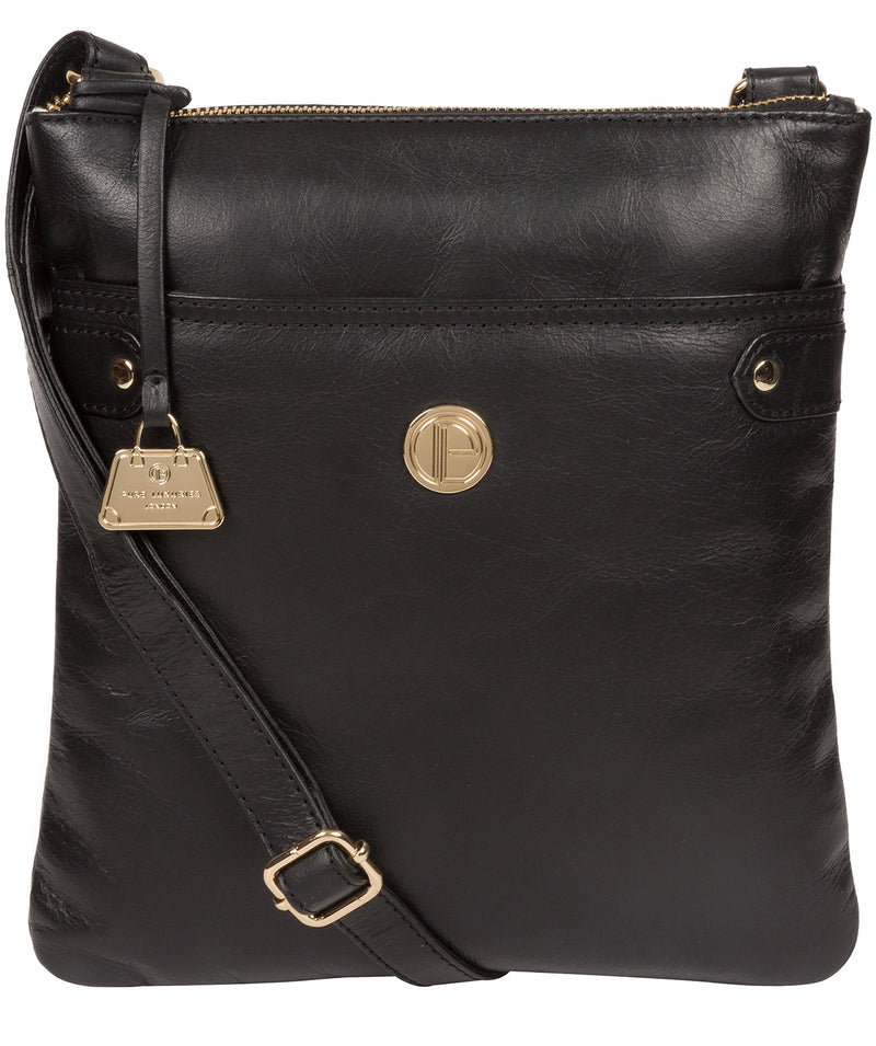'Briony' Jet Black Leather Cross Body Bag image 1
