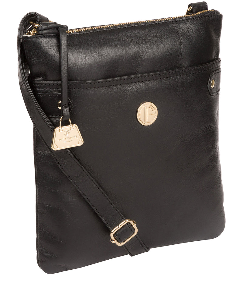'Briony' Jet Black Leather Cross Body Bag image 5