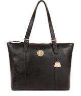 'Aster' Jet Black Leather Tote Bag image 1