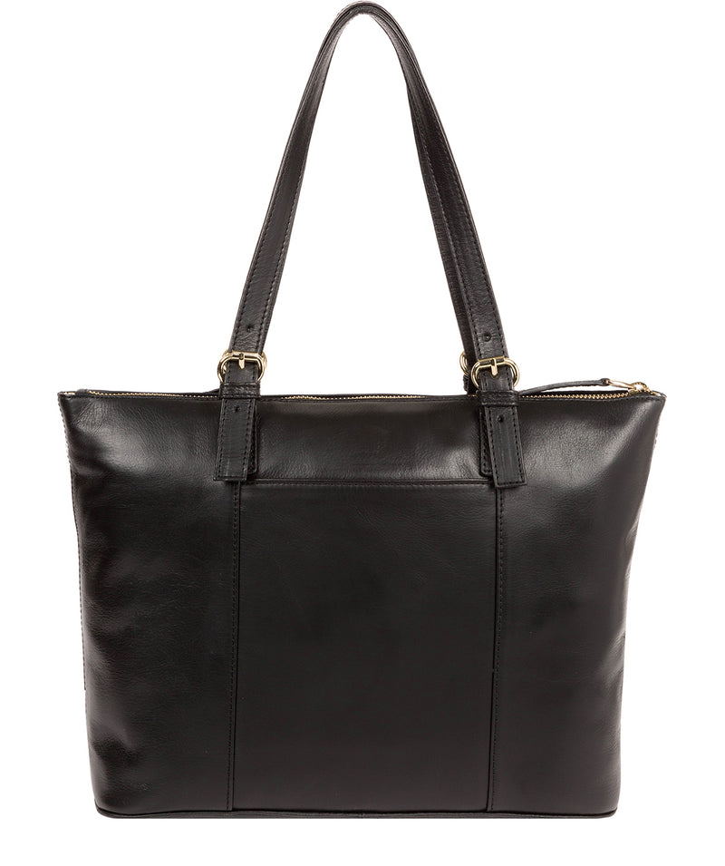 'Aster' Jet Black Leather Tote Bag image 3