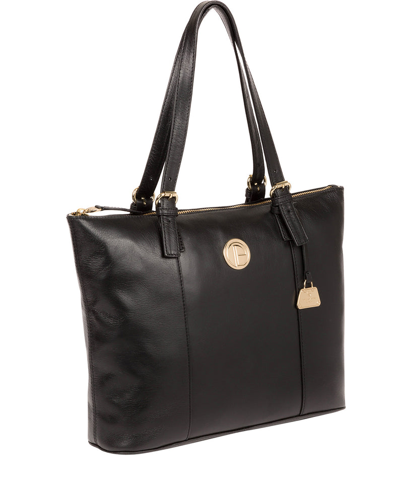 'Aster' Jet Black Leather Tote Bag image 5