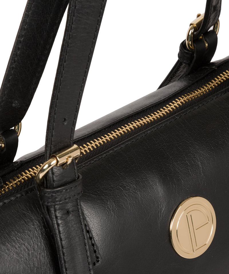 'Aster' Jet Black Leather Tote Bag image 6