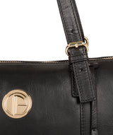 'Aster' Jet Black Leather Tote Bag image 7