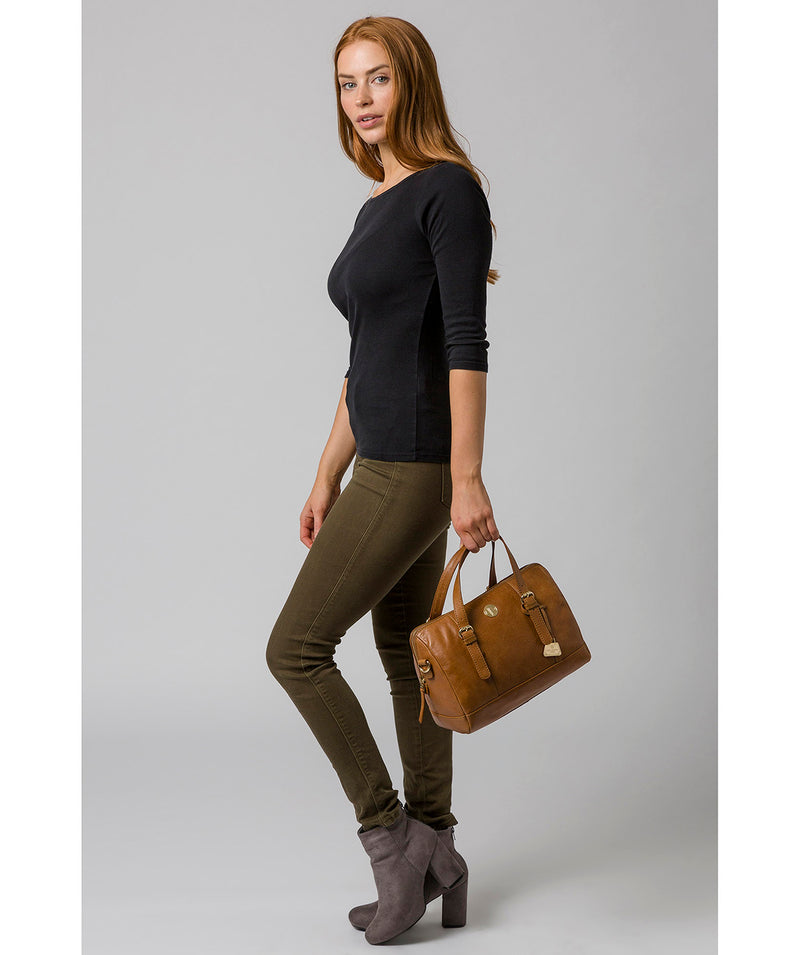 'Iris' Saddle Tan Leather Handbag image 7