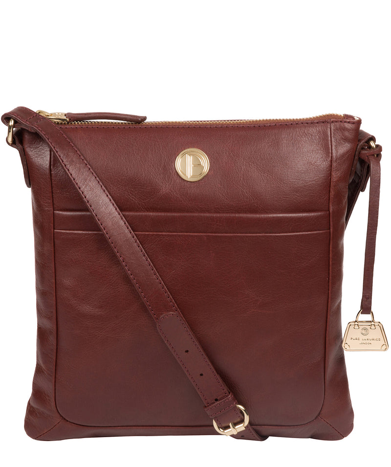 'Lotus' Chestnut Leather Cross Body Bag image 1