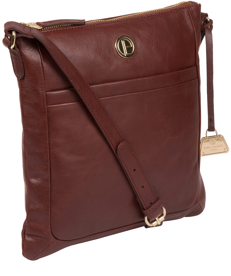 'Lotus' Chestnut Leather Cross Body Bag image 5
