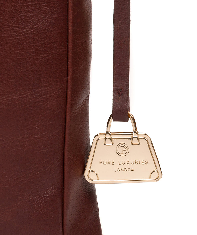 'Lotus' Chestnut Leather Cross Body Bag image 6