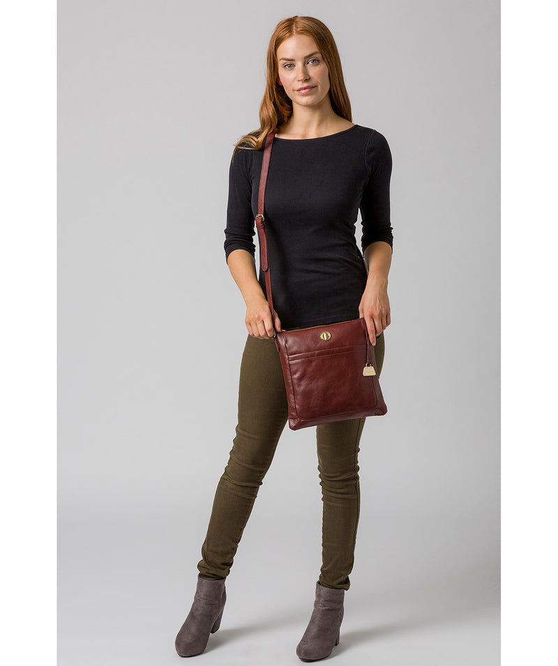 'Lotus' Chestnut Leather Cross Body Bag image 2