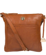 'Lotus' Hazelnut Leather Cross Body Bag Pure Luxuries London