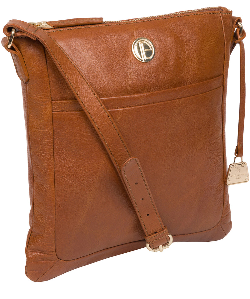 'Lotus' Hazelnut Leather Cross Body Bag image 5