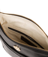 'Lotus' Jet Black Leather Cross Body Bag Pure Luxuries London
