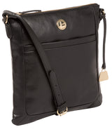 'Lotus' Jet Black Leather Cross Body Bag image 5