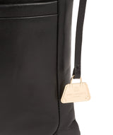 'Lotus' Jet Black Leather Cross Body Bag image 6