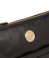 'Lotus' Jet Black Leather Cross Body Bag image 7