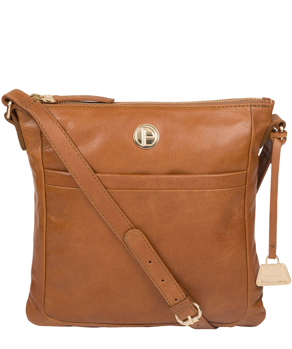 'Lotus' Saddle Tan Leather Cross Body Bag image 1