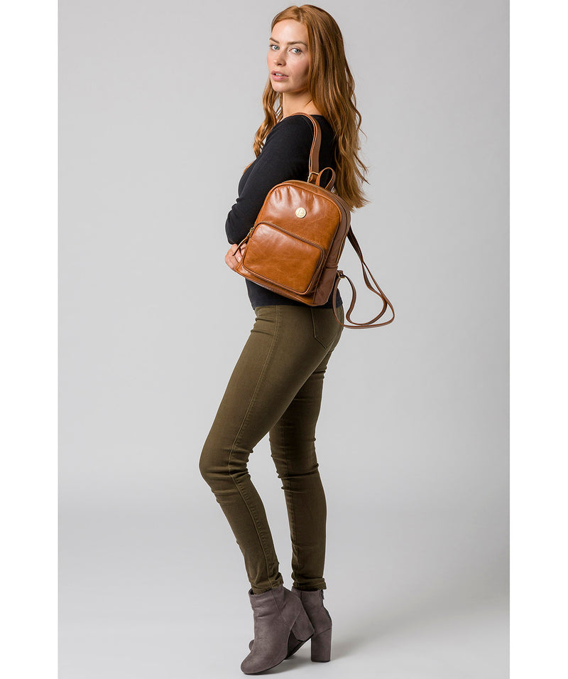 'Cora' Hazelnut Leather Backpack image 2