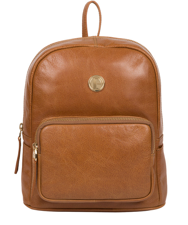 'Cora' Saddle Tan Leather Backpack image 1