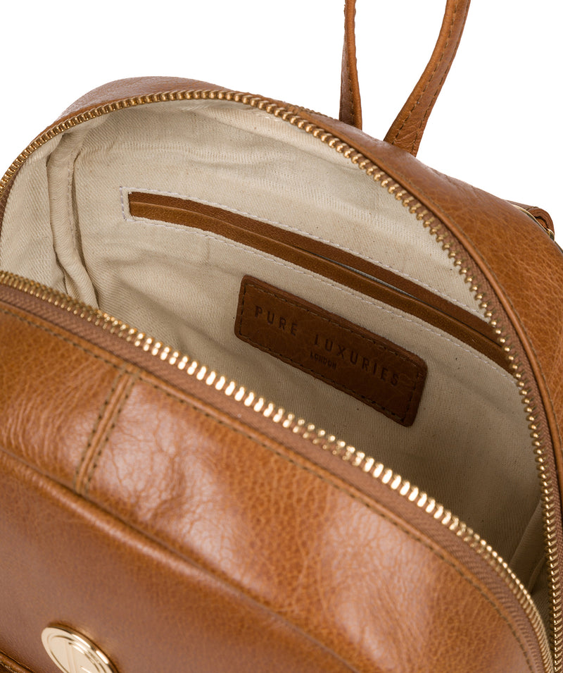 'Cora' Saddle Tan Leather Backpack image 4