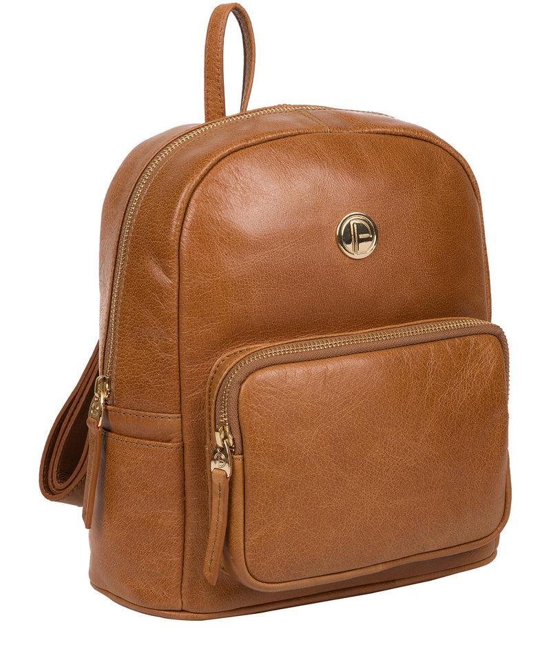 'Cora' Saddle Tan Leather Backpack image 5