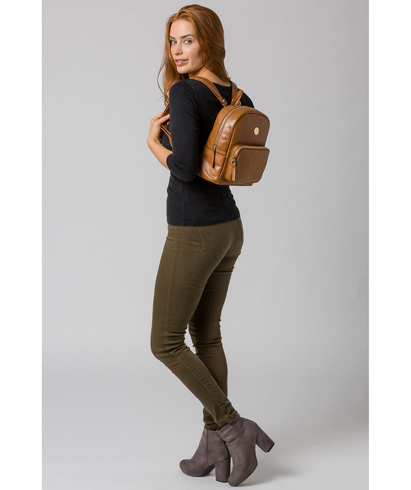 'Cora' Saddle Tan Leather Backpack image 2