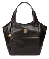 'Mimosa' Jet Black Leather Tote Bag image 1