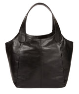 'Mimosa' Jet Black Leather Tote Bag image 3