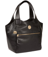 'Mimosa' Jet Black Leather Tote Bag image 5