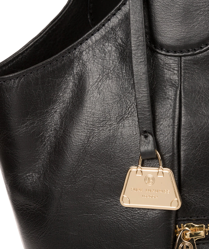 'Mimosa' Jet Black Leather Tote Bag image 6