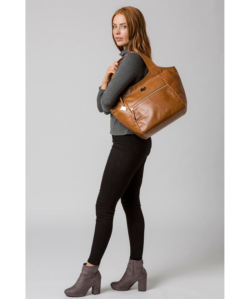 'Mimosa' Saddle Tan Leather Tote Bag image 7