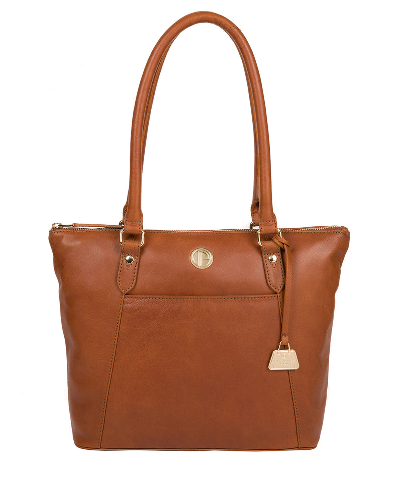 'Violet' Hazelnut Leather Tote Bag Pure Luxuries London