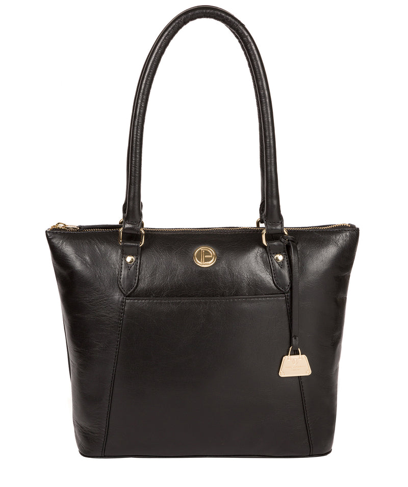 'Violet' Jet Black Leather Tote Bag image 1