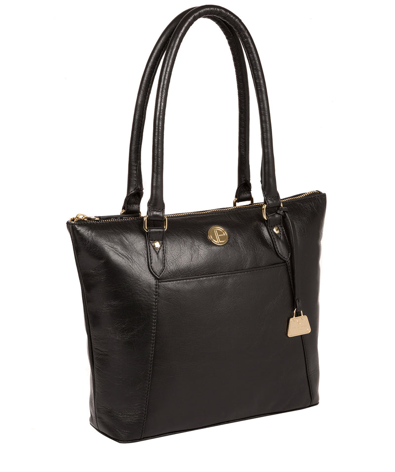 'Violet' Jet Black Leather Tote Bag image 5