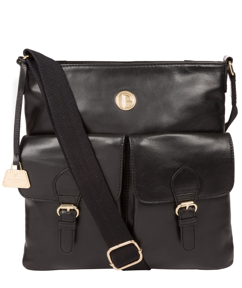 'Azalea' Jet Black Leather Cross Body Bag image 1