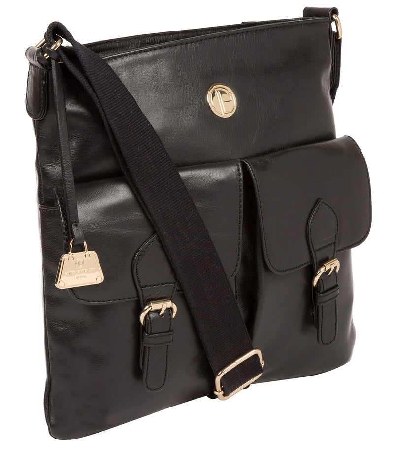 'Azalea' Jet Black Leather Cross Body Bag image 5