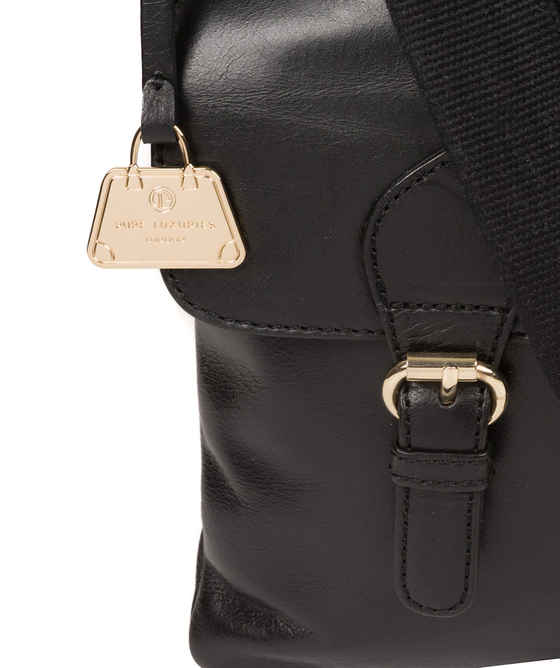 'Azalea' Jet Black Leather Cross Body Bag image 6
