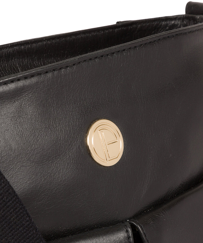 'Azalea' Jet Black Leather Cross Body Bag image 7