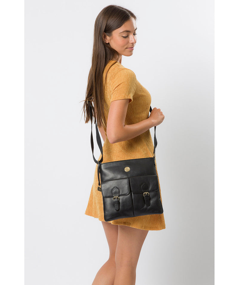 'Azalea' Jet Black Leather Cross Body Bag image 2