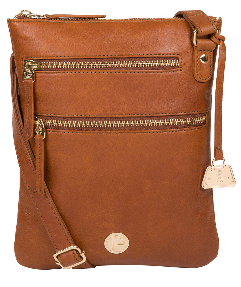 'Gardenia' Hazelnut Leather Cross Body Bag image 1