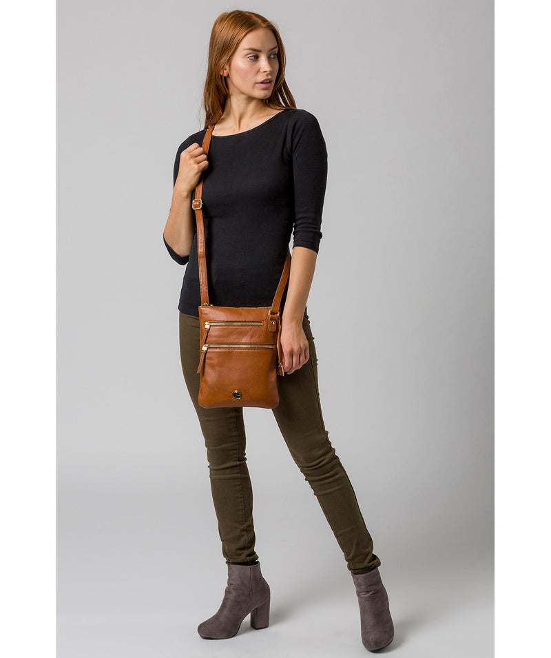 'Gardenia' Hazelnut Leather Cross Body Bag image 2