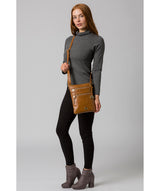 'Gardenia' Saddle Tan Leather Cross Body Bag image 2