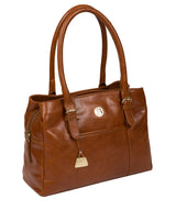 'Fleur' Hazelnut Leather Handbag Pure Luxuries London