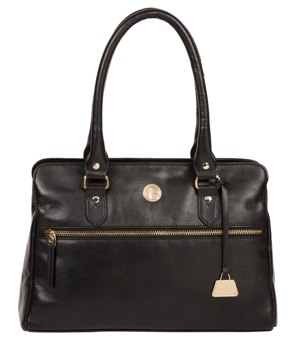 'Poppy' Jet Black Leather Handbag image 1